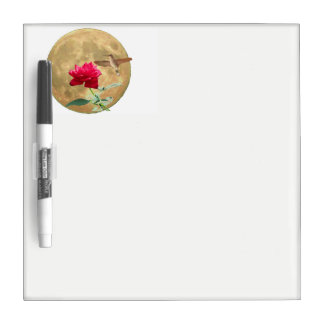Full Moon, Full Bloom Red Rose with Hummingbird Dry Erase Board