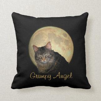 Full Moon Grumpy Angel Throw Pillow
