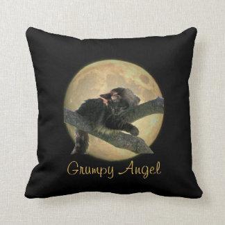 Full Moon Grumpy Angel in a tree Throw Pillows