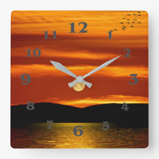 Full Moon image for Square-Wall-Clock Square Wall Clock