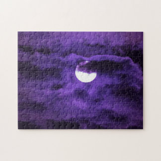 Full Moon in a Purple Cloudy Sky Jigsaw Puzzle