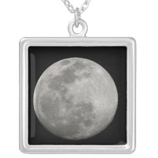 Full moon in black and white. Credit as: Arthur Silver Plated Necklace