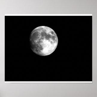 Full Moon in Black & White Poster