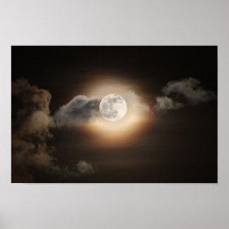 Full Moon in Cloudy Night Print