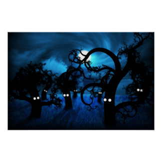 Full Moon in The Midnight Forest Posters