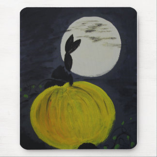 Full moon in the pumpkin patch mouse pad