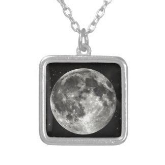 Full Moon in the Sky Silver Plated Necklace