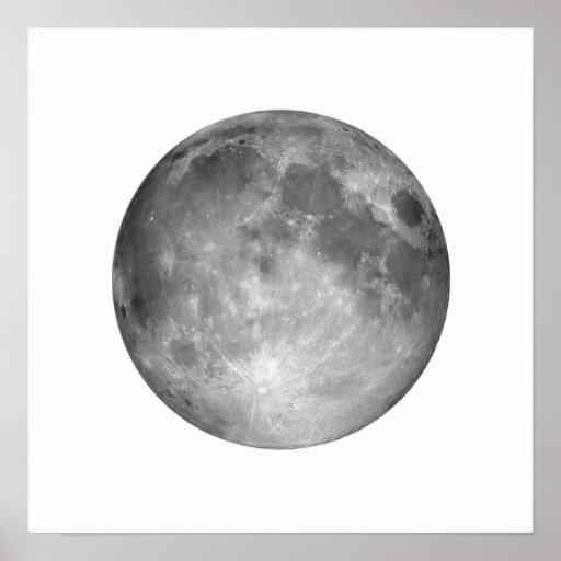 Full Moon in White Sky Large Poster