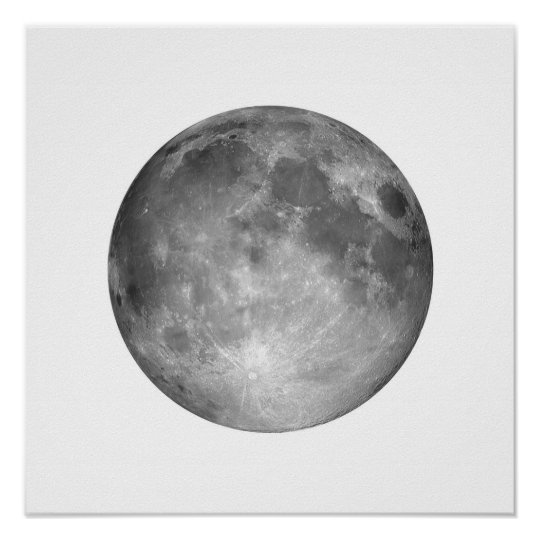 Full Moon in White Sky Large Poster