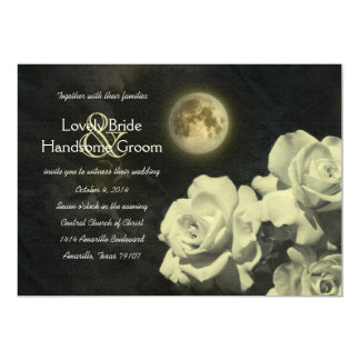 Full Moon Ivory Ghost Roses Wedding Invitation