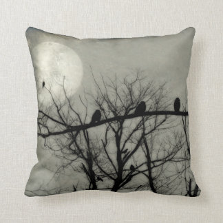 Full Moon Lights The Sky For Crows Cushion