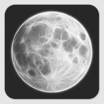 Full Moon Lunar Planet Globe Square Stickers