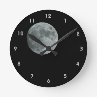 Full Moon Lunar Space Dark Clear Night Round Round Clock
