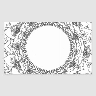 Full Moon Mandala Rectangle Sticker