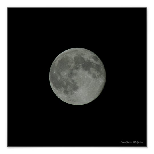 Full Moon Night Sky Supermoon Space Poster