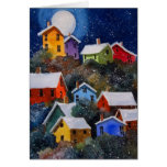 Full Moon on Hillside Houses Pittsburgh PA Greeting Cards