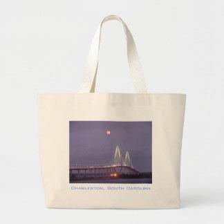 Full Moon over Cooper River Bridge, Charleston Large Tote Bag