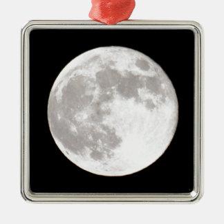 Full Moon Over Dark Black Sky Night Silver-Colored Square Decoration