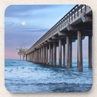 Full moon over pier, California Beverage Coaster