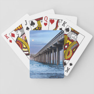 Full moon over pier, California Playing Cards
