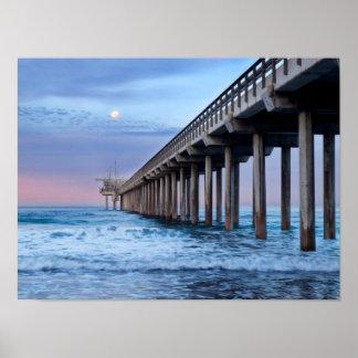 Full moon over pier, California Poster