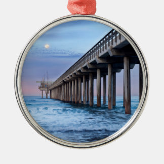 Full moon over pier, California Silver-Colored Round Decoration