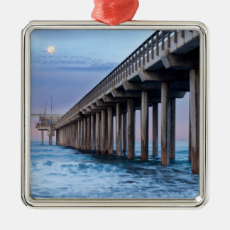 Full moon over pier, California Silver-Colored Square Decoration
