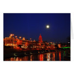 Full Moon Over The Plaza Greeting Card