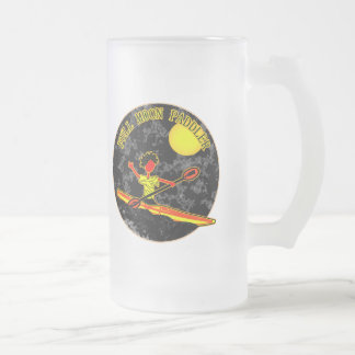 Full Moon Paddler Kayaking Canoeing 16 Oz Frosted Glass Beer Mug