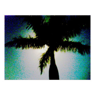 Full Moon Palm Tree Posters