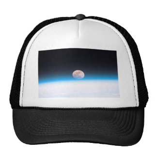 Full moon partially obscured by atmosphere trucker hat