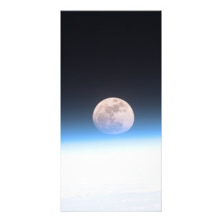 Full moon partially obscured by atmosphere customized photo card