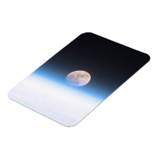 Full moon partially obscured by atmosphere rectangular photo magnet