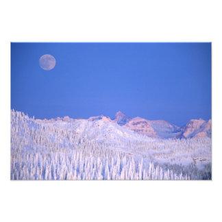 Full moon rising above Glacier National Park Photographic Print