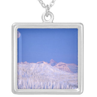 Full moon rising above Glacier National Park Silver Plated Necklace