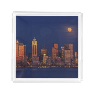 Full moon rising over downtown Seattle skyline Acrylic Tray