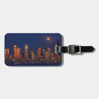 Full moon rising over downtown Seattle skyline Bag Tag