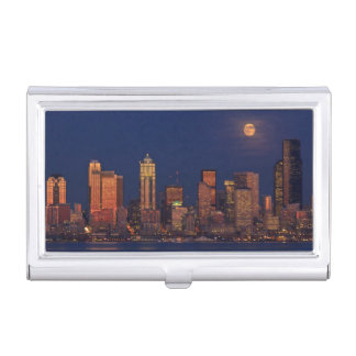Full moon rising over downtown Seattle skyline Business Card Holder
