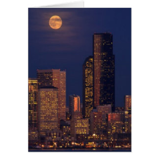 Full moon rising over downtown Seattle skyline Card