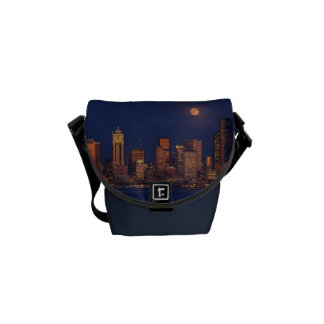 Full moon rising over downtown Seattle skyline Courier Bag