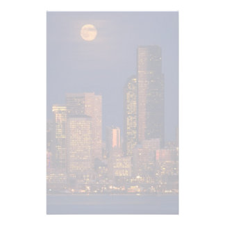 Full moon rising over downtown Seattle skyline Custom Stationery