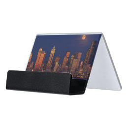 Full moon business card holders cases zazzle full moon rising over downtown seattle skyline desk business card holder colourmoves Images