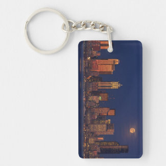 Full moon rising over downtown Seattle skyline Double-Sided Rectangular Acrylic Key Ring