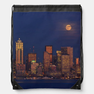 Full moon rising over downtown Seattle skyline Drawstring Bag
