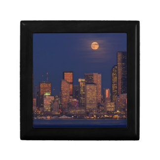 Full moon rising over downtown Seattle skyline Gift Box