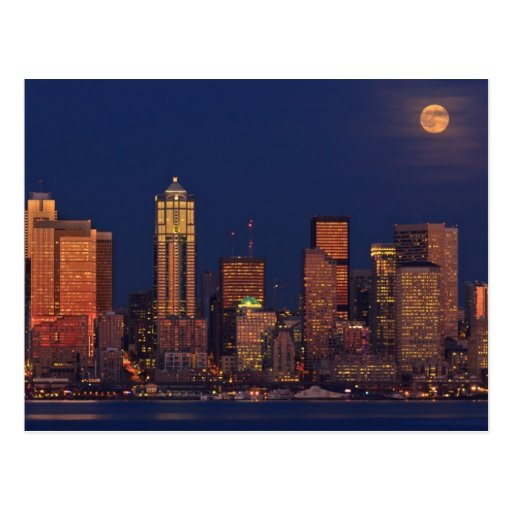 Full moon rising over downtown Seattle skyline Postcards