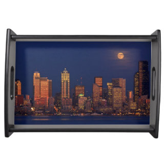 Full moon rising over downtown Seattle skyline Serving Tray