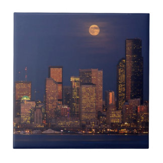 Full moon rising over downtown Seattle skyline Small Square Tile