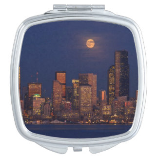 Full moon rising over downtown Seattle skyline Vanity Mirror