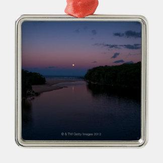 Full Moon rising over  Wattamolla Beach in the Silver-Colored Square Decoration